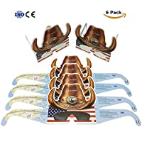 Solar Eclipse Glasses CE and ISO Certified for Direct Sun Viewing Safety Eye Protection Glasses, Suitable for Kids and Adult (6 Pack - USA Cowboys)