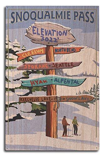 Snoqualmie Pass  Washington   Ski Signpost  10X15 Wood Wall Sign  Wall Decor Ready To Hang