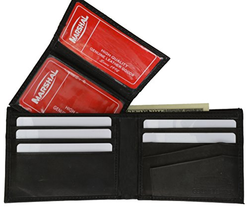 Marshal Wallet Leather Men Bifold Wallet Removable ID Case Hidden Compartment (Black)