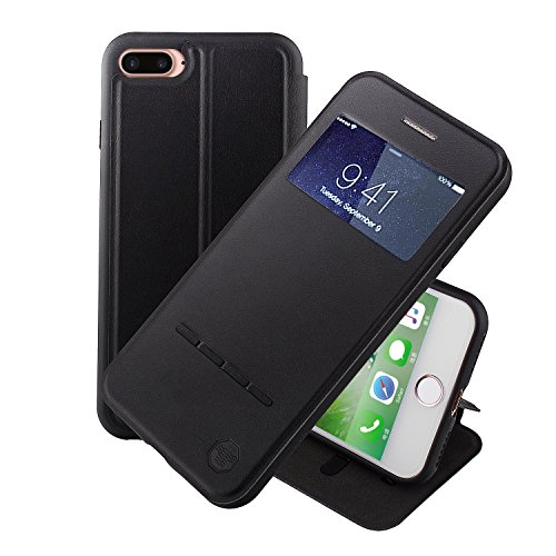 Nouske Swipe Case for iPhone 7Plus iPhone 8Plus with Stand/Window View /Magnetic Closing/TPU bumper/Flip Full Cover Black
