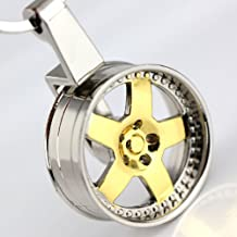 Maycom® Creative Auto Parts Models Spinning Metallic Wheel Rim Keychain Key Chain Ring Keyring Keyfob (Golden)