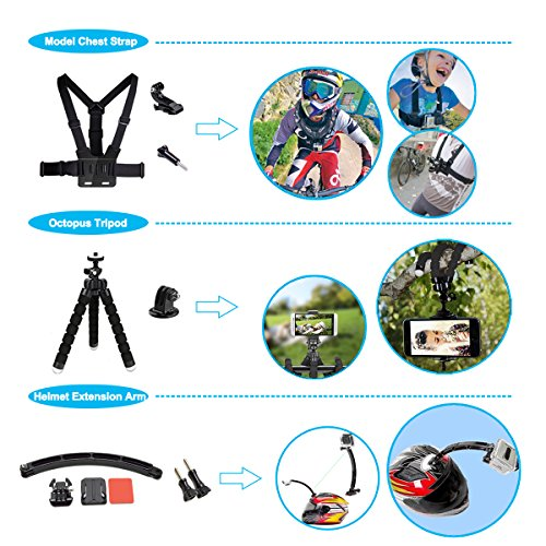 Soft Digits 50 in 1 Action Camera Accessories Kit for GoPro Hero Accessory Bundle kit for GoPro Hero 7 6 5 4 3 Xiaomi yi Carrying Case/Chest Strap/Octopus Tripod