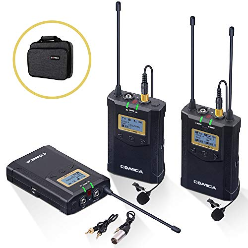 Wireless Lavalier Microphone System, Comica CVM-WM100 Plus UHF 48-Channel Dual Lav Mic Set for DSLR Camera XLR Camcorder Broadcast (2 Transmitter+1 Receiver) ¡­