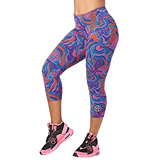 Zumba Dance Fitness Compression Pants Workout Print Capri Leggings for Women, Grape Purple, S