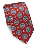 Yves Saint Laurent Men's Medallion Print Silk Tie, OS, Burgundy