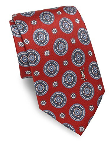 Yves Saint Laurent Men's Medallion Print Silk Tie, OS, Burgundy by Yves Saint Laurent