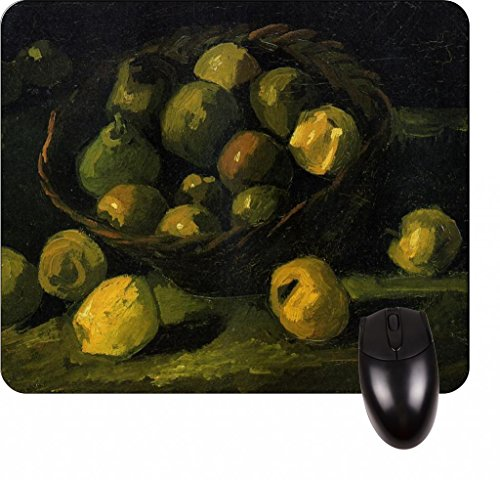 Vincent Van Gogh's Still Life With A Basket Of Apples-Vincent Willem Van Gogh/Post-Impressionist/Post-Impressionism/Dutch/Netherlands/France/French/Painter-Square Mouse pad - Stylish, durable office accessory and gift
