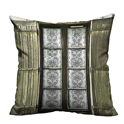 (YouXianHome Throw Pillow Cover for Sofa European French Window with Antique Open Shutter Print Vintage Style Brown Whit Textile Crafts (Double-Sided Printing) 27.5x27.5)