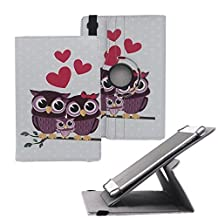 """Tsmine Hipstreet Phoenix 10"""" Rotating Case Cartoon for Kids - Universal Protective Cute Owl Printed Rotary Leather Case Stand Cover for Hipstreet Phoenix Tablet, Full of Love Owl Family"""