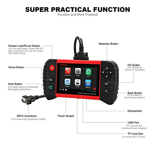 Launch CRP Touch Pro 5.0'' Android Touch Screen OBD2 Diagnostic Scan Tool for ABS, SRS, Transmission,Engine,Battery Registration, EPB, Oil Service Light Reset by Launch (Image #2)
