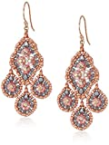 Miguel Ases Small Quadruple Swarovski Cluster Center Contrast Drop Earrings, Rose Gold and Flint