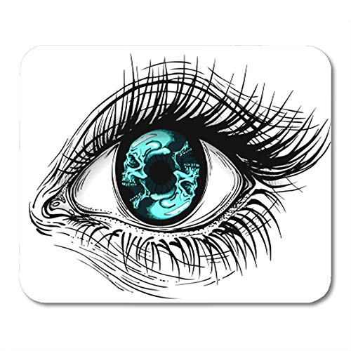 Semtomn Gaming Mouse Pad Tattoo of Realistic Human Eye Girl Circular Blue Skull Iris Eyeball 9.5
