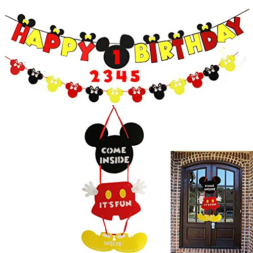 Mickey Mouse Party Supplies Kits, Minnie Happy Birthday Banner, Garland and Welcome Hanger for Baby Kids Shower Theme Parties -