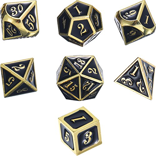 Frienda Znalloy Metal Polyhedral 7-Die Dice Set for Dungeons and Dragons RPG Dice Gaming D&D Math Teaching, d20, d12, 2 Pieces d10 (00-90 and 0-9), d8, d6 and d4 (Shiny Gold and Black)