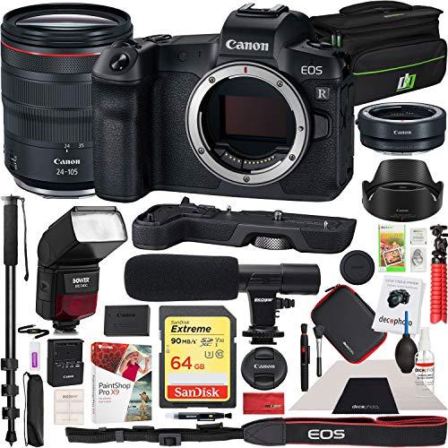 (Canon EOS R Full-Frame Mirrorless Digital Camera with RF 24-105mm F4 L is USM Lens Kit and EF-EOS R Adapter & Extension Grip EG-E1 and Bower TTL Speedlite Flash Deco Gear Case Microphone Bundle)