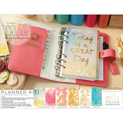 Color Crush Faux Leather Personal Planner Kit 5.5x8-Light Pink
