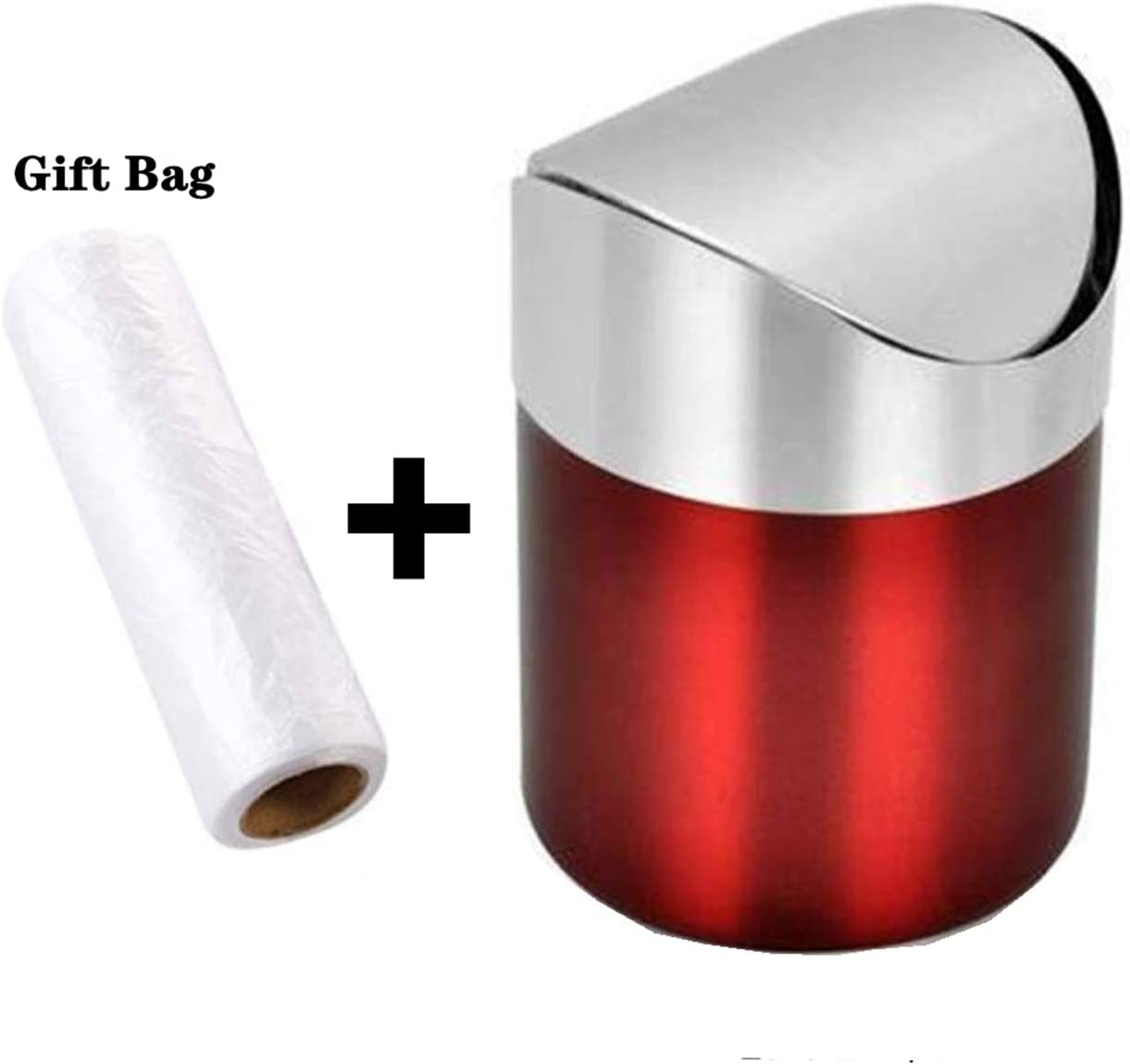 Countertop Brushed Stainless Steel Swing Lid Table Desk Car Mini Trash Can Trash Bin Set, Come with Trash Bag, 1.5 L / 0.40 Gal, 5 Color Options, Red