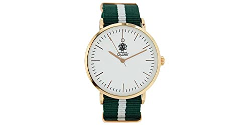 Relojes Calgary San Marine Vintage. Reloj Vintage para Mujer, Correa de Tela Verde y Blanco, Esfera Blanca: Amazon.es: Zapatos y complementos