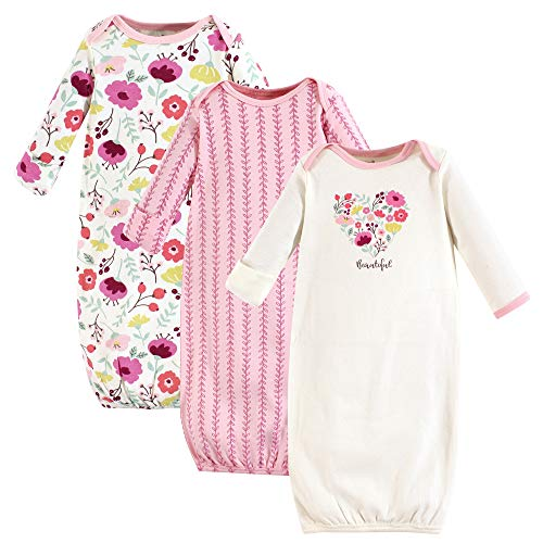 Touched by Nature Baby Organic Cotton Gowns, Botanical 3-Pack, 0-6 Months ()