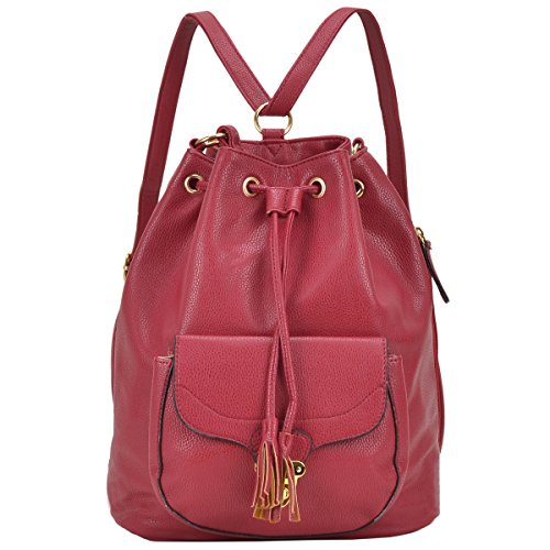 Dasein Front Pocket Convertible Casual Drawstring Fashion Backpack Purse Daypacks Shoulder bags Schoolbag With Interchangeable Straps for Women & Girls – Burgundy