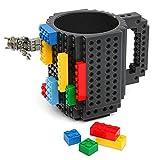 LUXHOME Taza para café o té tipo block de construcción color negro elaborada con plástico BPA