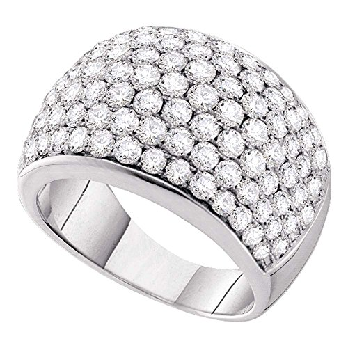 14kt White Gold Womens Round Pave-set Diamond Cocktail Ring 3.00 Cttw (I1-I2 clarity; H-I color)