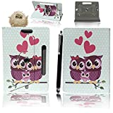 10inch Tablet Case Cover - Universal Leather Stand Case Folio Cover Magic Leather 360° Rotating Case Fits to ALL 10' Inch & 10.1' Inch Android Tablets tab + Stylus Pen (FAMILY OWL CASE COVER)