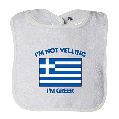 (Cute Rascals I'M Not Yelling I Am Greek Greece Tot Contrast Trim Terry Bib White)