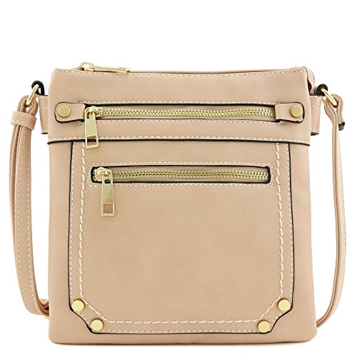 Dusty Zip Crossbody Medium Pink Compartment Bag Double Pocket 81Yzq