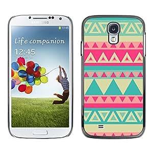 TopCaseStore / la caja del caucho duro de la cubierta de protección de la piel - Teal Yellow Pink Lime Pink Indian Pattern - Samsung Galaxy S4 I9500