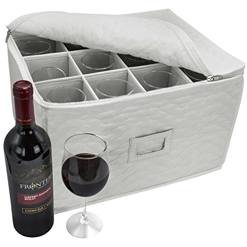Sorbus Stemware Storage Chest - Deluxe Quilted Case with Dividers - Service for 12 - Great for Protecting or Transporting Wine Glasses, Champagne Flutes, Goblets, and more (Deluxe Wine Box Set)