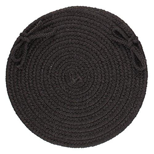 Solid Wool Chair Pad, Black
