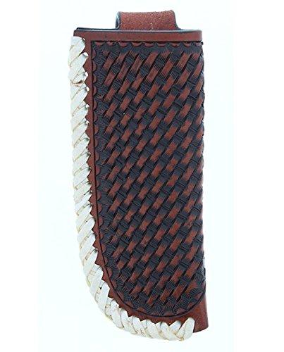 Twisted X Brand Cognac Basket Weave Knife Sheath with Raw Hide Trim (XW3-3)