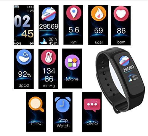 Silverzone Smart Bracelet Bluetooth Blood Pressure Heart Rate Sleep Monitors Watch Waterproof Activity Fitness Tracker Pedometer Wristband Smartband for Android IOS (Black)