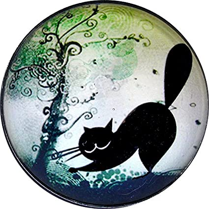Crystal Dome Button Lg Sz 1 /& 3//8 inch PC14 Black Cat Scratching a Tree