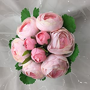 "Lily Garden 10.5"" Silk Camellia Bouquet Wedding Decor Flowers (All pink) 9"