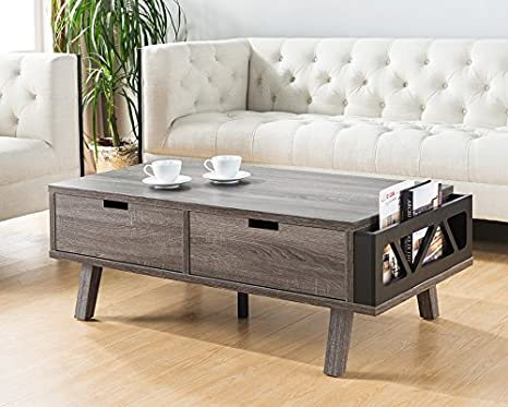 Smart Home 151344CT Modern Coffee Table, Distressed Grey & Black Color,  Coffee Table for Living Room