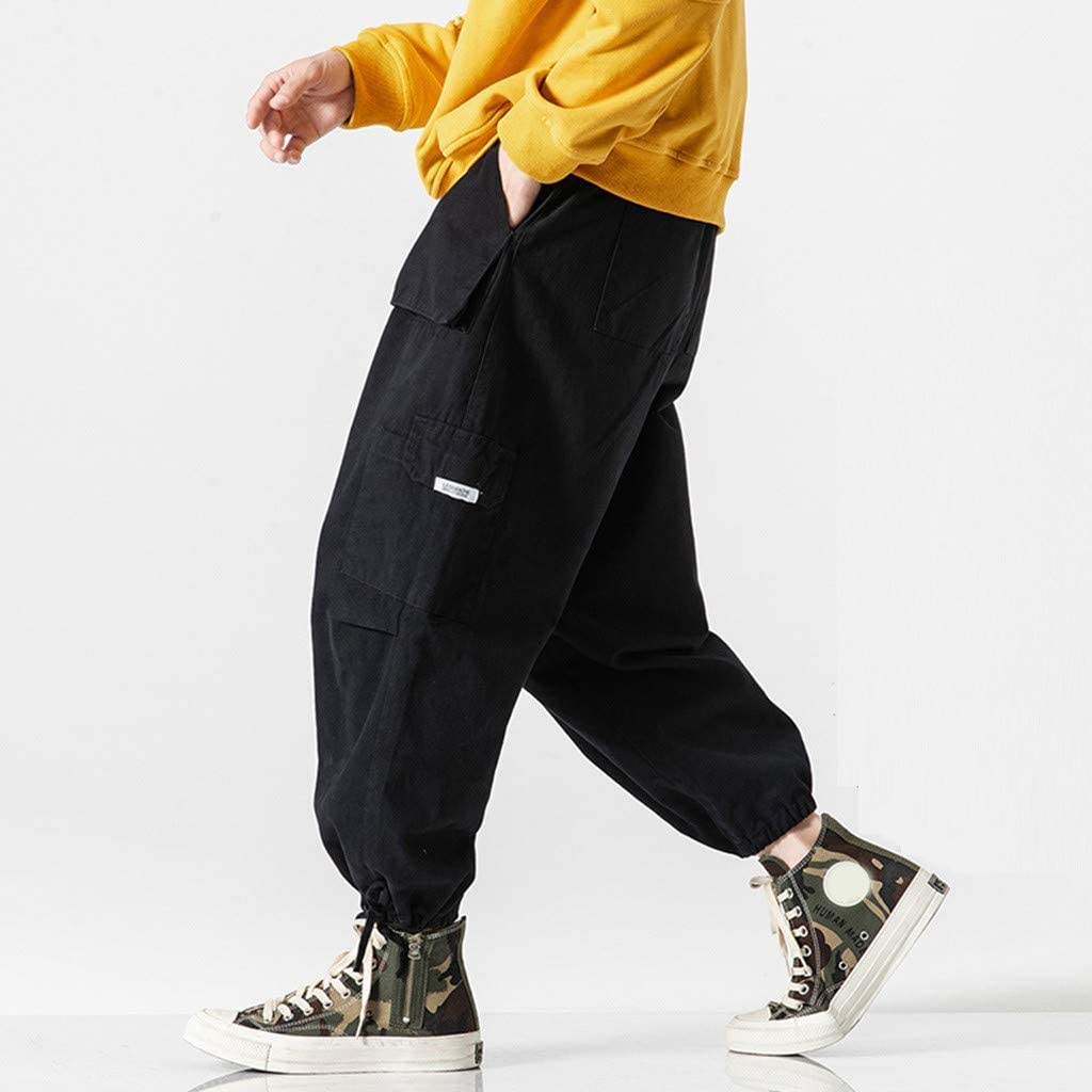 Ankle Length Hip Hop Trousers Loose Fit Cargo Workout Jogger Yoga Sweatpants Men/'s Baggy Harem Pants