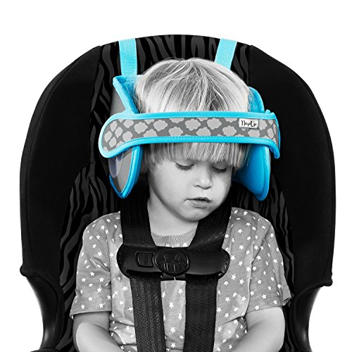 NapUp Child Car Seat Head Support – A Comfortable Safe Sleep Solution (Blue).
