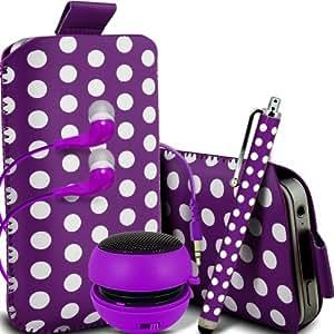 ONX3 Alcatel One Touch M'Pop Leather Slip protectora Polka PU de cordón en la bolsa del lanzamiento rápido con Mini capacitivo Stylus Pen, 3.5mm en auriculares del oído, Mini Altavoz Cápsula recargable (púrpura y blanco)