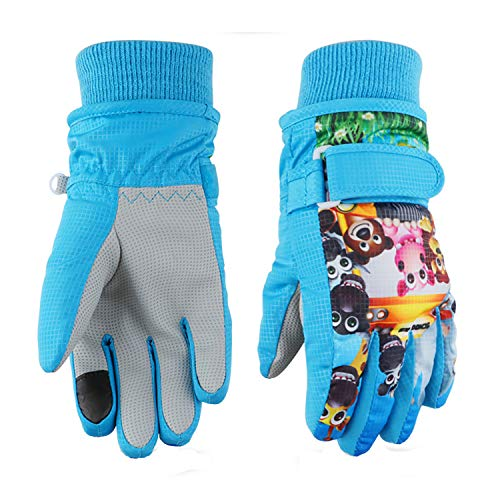 Kids Ski Gloves,Winter Warmest Waterproof and Breathable Snow Gloves for Boys Girls Children Skiing,Snowboarding Shoveling Windproof Juniors Thermal Gloves GL8 Zoo-S