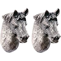 A.B Crew Pack of 2 Vintage Style Tin-lead Alloy Animal Cabinet Cupboard Drawer Knob(Horse,Screw Length: 4.5cm/1.77)