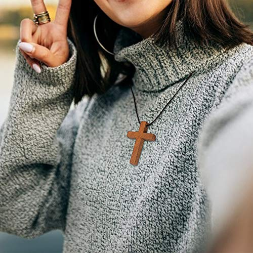 60PCS Mini Crosses, 4 Types Wood Cross Pendants Mini Wooden Crosses Miniature Crosses Unfinished Natural Wooden Blessing Charms for DIY Craft Favor