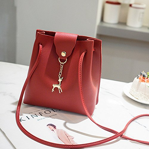 Pendant Bags Purse Bag Womens Clearance Crossbody Leather ZOMUSA Bag Deer Small Messenger Shoulder Red fw4zq0n4