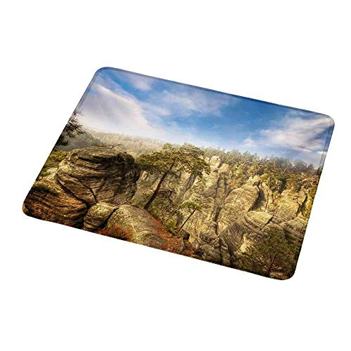 Custom Mouse Pad Gaming Mat Nature,Wonders of The World National Park Rock Formation Czech Image,Sky Blue Tan Cream Olive Green,Custom Design Gaming Mouse Pad ()