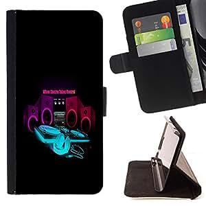 BullDog Case - FOR/Samsung Galaxy S6 / - / cool music electro control bass speaker /- Monedero de cuero de la PU Llevar cubierta de la caja con el ID Credit Card Slots Flip funda de cuer