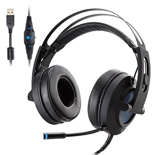 Auriculares para juegos Vibración estéreo multiplataforma USB 7.1 Efecto de sonido Belt Wheat Escuche la posición de...