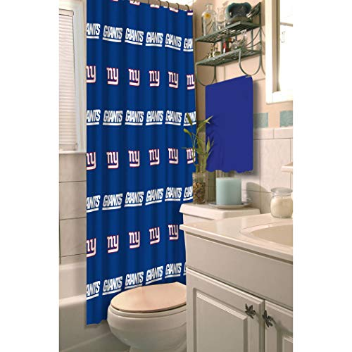 1 Piece NFL Giants Shower Curtain 72 X 72 Inches, Football Themed Bedding Sports Patterned, Team Logo Fan Merchandise Bathroom Curtain Athletic Team Spirit Fan, Blue, Grey, Red, White Polyester