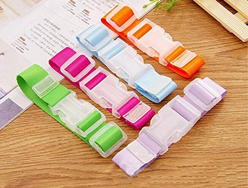 Buckes - 50 pcs/lot Portable Handicrafts Suitcase Holder Luggage Buckle Hooks Packing Belt Clip Plastic Buckle Luggage Belt - (Size: 27x2.5cm, Color: Mixed Batch)