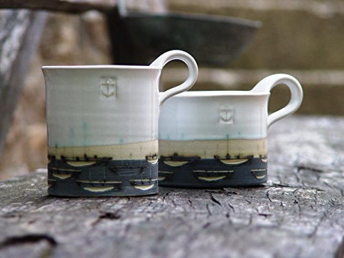 Stoneware Pottery Mug, Coffee Mug, Hand Painted Mug, Pottery Teacup with Boats, White and Blue Mug, Unique Mug, Ceramics and Pottery